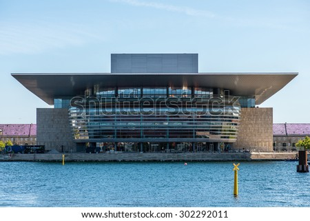 COPENHAGEN, DENMARK - JULY 16: The Copenhagen Opera House, designed by Henning Larsen on July 16, 2015. It is located on the island of Holmen in central Copenhagen.