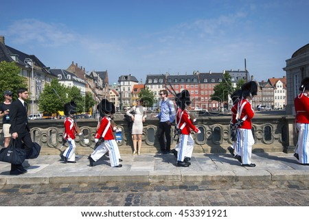 COPENHAGEN, DENMARK - JUNE 23, 2016 - Tivoli Youth Guard -  music school for boys of age 8-16, walking outside Tivoli in Copenhagen June 23, 2016. - stock photo