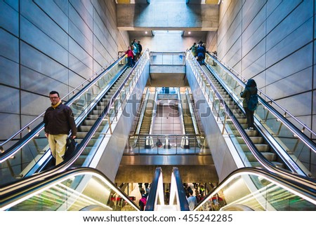 COPENHAGEN, DENMARK - MARCH 19, 2016: Every day people use escalators in Copenhagen, Denmark, to go down to the train station.