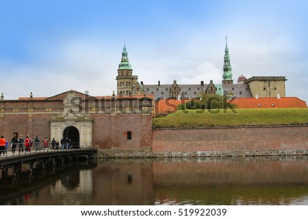 Copenhagen, Denmark - October 2, 2016: People visiting Kronborg or Elsinore Castle otherwise known as the castle Shakespeare set Hamlet in. Copenhagen, Denmark