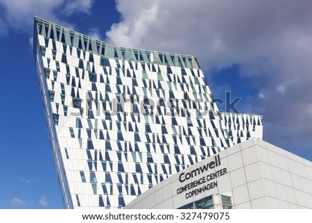 Copenhagen, Denmark - October 11, 2015: The Bella Sky Marriot Hotel is a 4-star conference hotel adjacent to the Bella Convention and Congress Center in the Orestad district of Copenhagen, Denmark. - stock photo