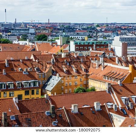 Copenhagen, Denmark. Panoramic view on city - stock photo