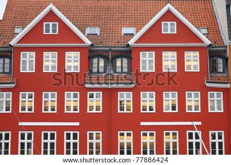 Copenhagen, Denmark - red building of Nyhavn street. Oresund region. - stock photo