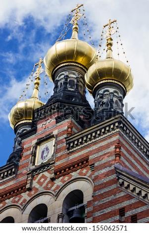 Copenhagen, Denmark - Russian orthodox church. Aleksandr Nevskij Kirk. - stock photo