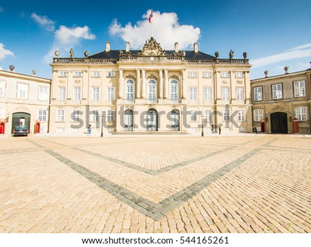 COPENHAGEN, DENMARK - SEPTEMBER 04: Amalienborg Palace on September 04, 2015 in Copenhagen, Denmark. It is the winter home of the Danish royal family.