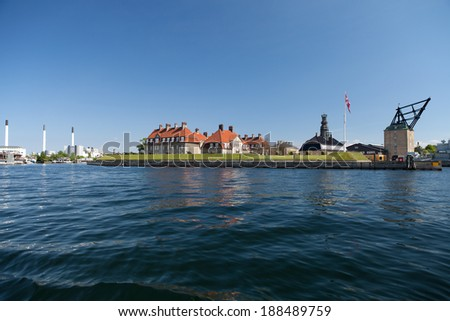 Copenhagen harbor naval base Nyholm. Historic site of Denmark and former naval base - stock photo