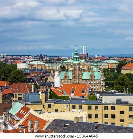 Copenhagen - panorama of city with Rosenborg slot, Denmark - stock photo