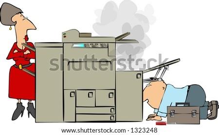 Copier repairman - stock photo