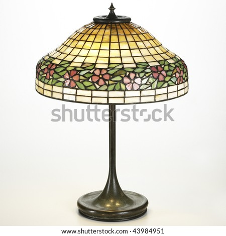 copper and mica shade table lamp - stock photo