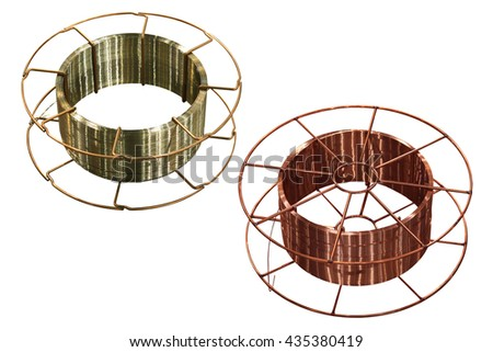copper and steel welding wire on white background - stock photo