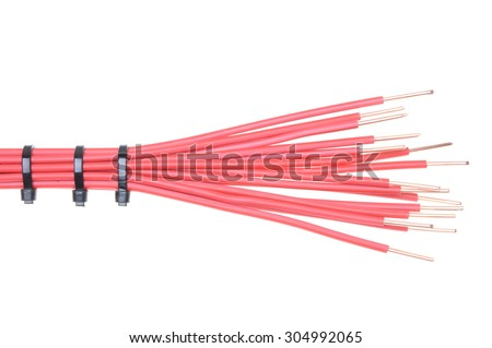 Copper cable with cable ties used in electrical installations isolated on white background - stock photo