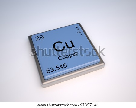 Copper chemical element of the periodic table with symbol Cu - stock photo