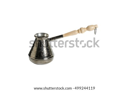 Copper coffee maker on a white background