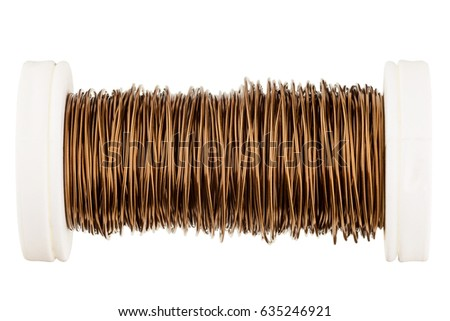 Copper coil, copper wire for electrical soldering works. Isolated