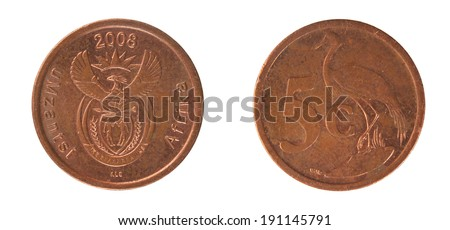 Copper Coins South Africa 5 cents - stock photo