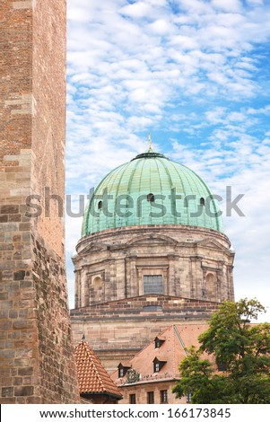 Copper dome of St Elisabeth church or Elisabethkirche in Nuremberg, Franconia, Bavaria, Germany. - stock photo