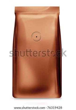 copper foil bag with valve - stock photo