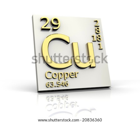 Copper form Periodic Table of Elements - stock photo
