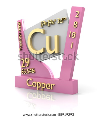 Copper form Periodic Table of Elements - 3d made - stock photo