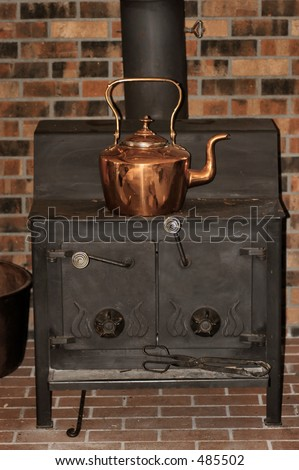 Copper Kettle on woodburning stove