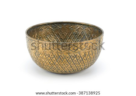 Copper Mixing Bowl isolated on white background clipping path - stock photo