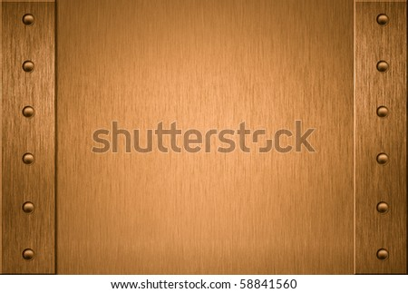 copper or bronze frame with rivets - stock photo