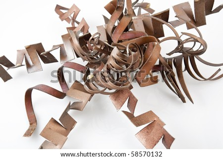 Copper painted Twisted Metal Background - stock photo