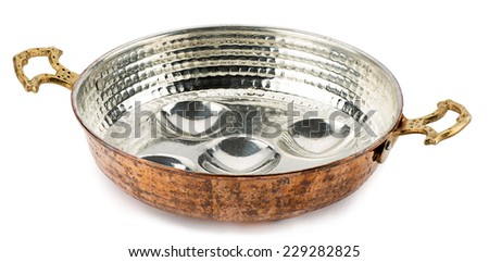 Copper pan to cook egg isolated on white background.  - stock photo