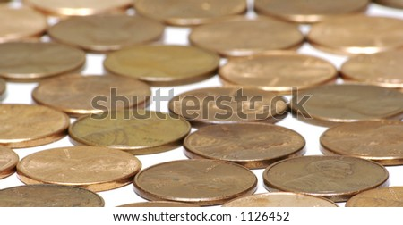 Copper Pennies Background - stock photo