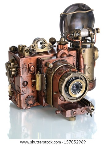 Copper Photo camera.  Style Steampunk. - stock photo
