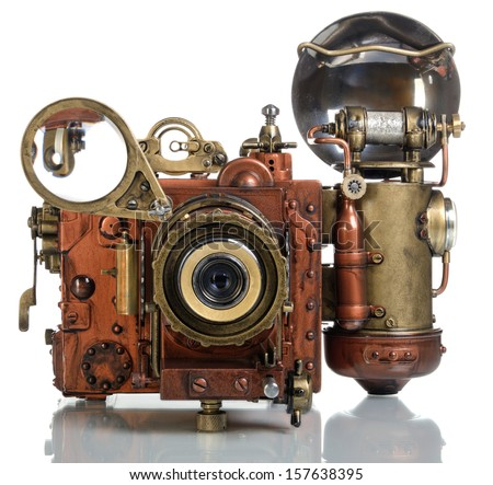 Copper Photo camera.. Style Steampunk. - stock photo