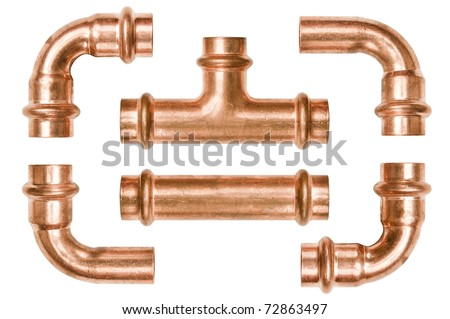 Copper pipe tubes - stock photo