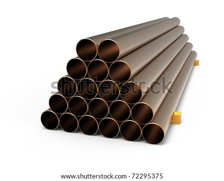 Copper pipes - stock photo
