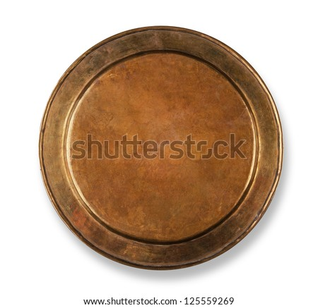 Copper plate on white with shadow - stock photo
