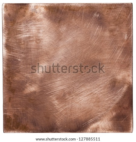 Copper plate textures, old metal backgrounds, isolated - stock photo