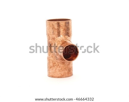 Copper plumbing fitting isolated on white - stock photo