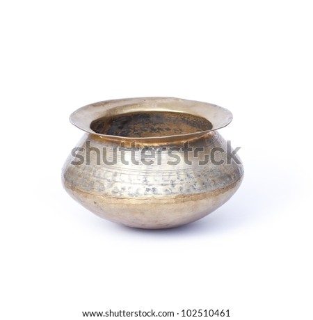 copper pot isolated on white - stock photo