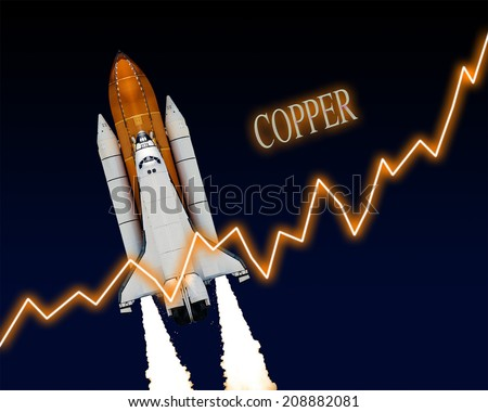 Copper rising chart stock market commodity graph. Elements of this image furnished by NASA. - stock photo