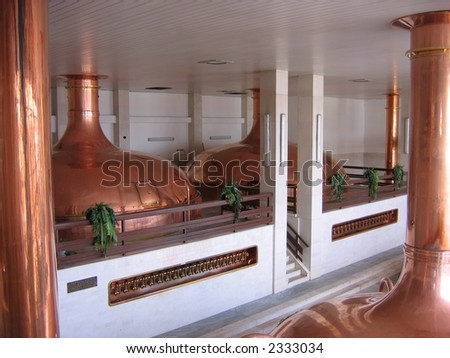 Copper tanks in a Czech brewery
