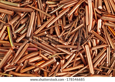 Copper wire is cut into pieces  - stock photo
