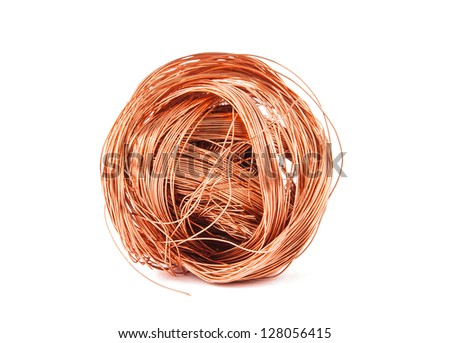 copper wire isolated on white - stock photo