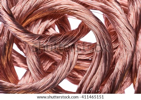 Copper wire, the concept of energy transmission technology - stock photo