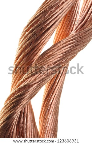 Copper wire, the concept of the energy industry - stock photo