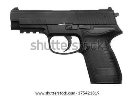 Copy of black metal gun on a white background