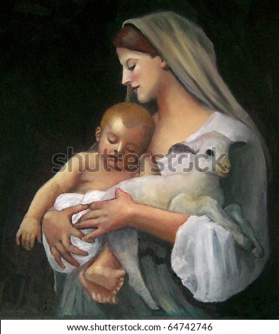 "Copy of Bouguereau's Painting: ""Innocence"" - stock photo"