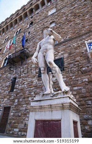 Copy of David of Michelangelo in front of Palazzo Vecchio, Florence, Italy