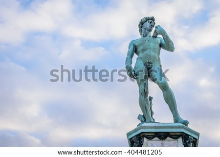 Copy of David statue at Piazzale Michelangelo with clear blue sky background - stock photo