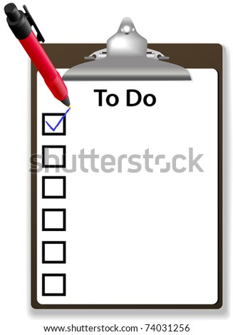 Copy space background for your text list on To Do list with check mark pen and clipboard - stock photo