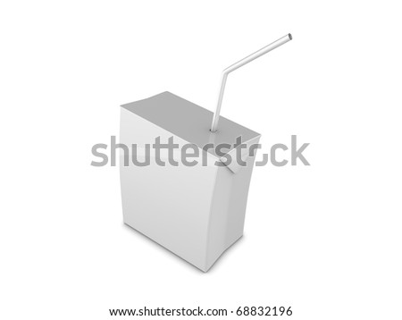 Copy space, Blank drink box with straw, isolated on white background. - stock photo