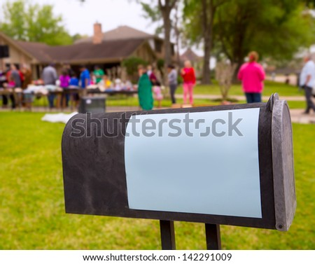 Copy space blank paper on a yard garage sale in US - stock photo